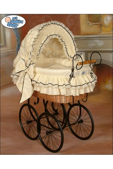 Cuna moisés bebé de mimbre Vintage Retro - Crema-Negro