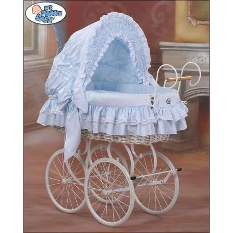 Cuna moisés bebé de mimbre Vintage Retro - Azul-Blanco