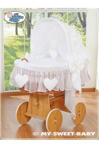 Cuna moisés bebé de mimbre Corazones - Blanco