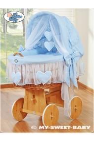 Cuna moisés bebé de mimbre Corazones - Azul