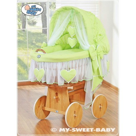 Cuna moisés bebé de mimbre Corazones - Verde