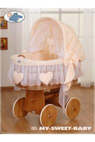 Cuna moisés bebé de mimbre Corazones - Melocotón