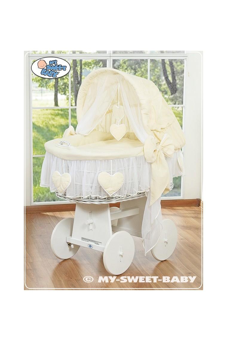 Cuna mois s beb de mimbre corazones crema blanco - Moises clasicos para bebes ...