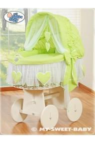 Cuna moisés bebé de mimbre Corazones - Verde-Blanco