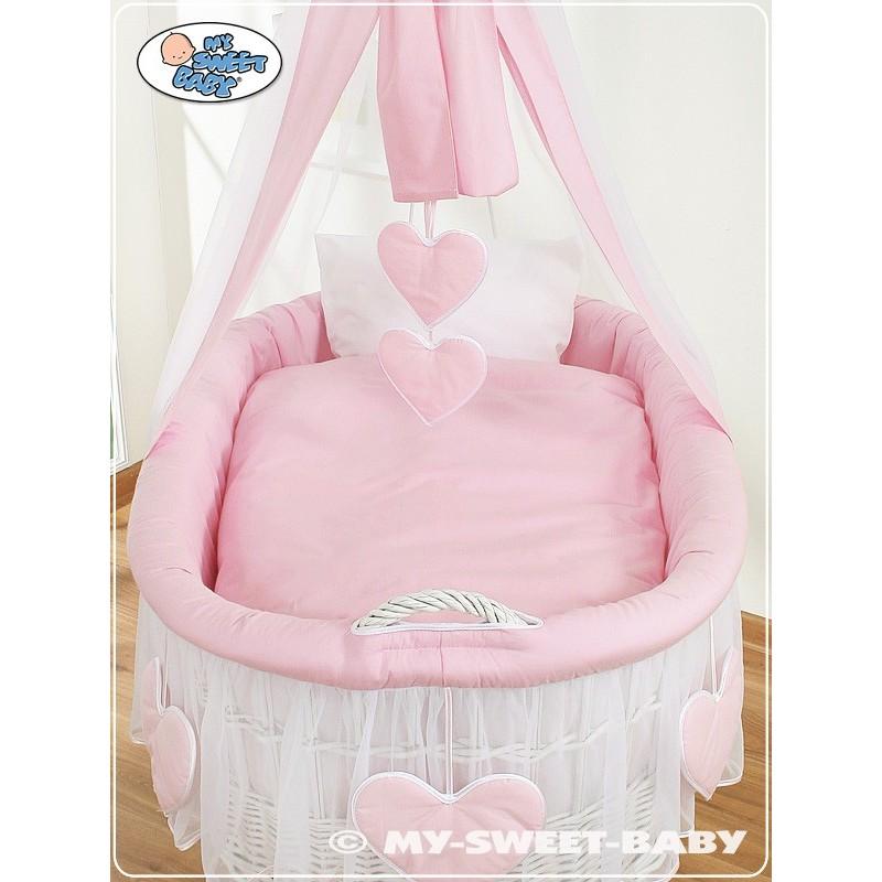 Cuna mois s beb de mimbre corazones rosa blanco - Sabanas moises mimbre ...