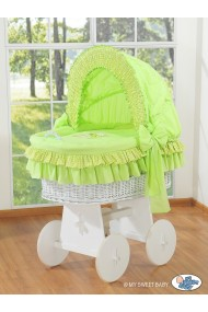 Cuna moisés de mimbre bebé Osito - Verde-blanco