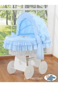 Cuna moisés de mimbre bebé Osito - Azul-blanco