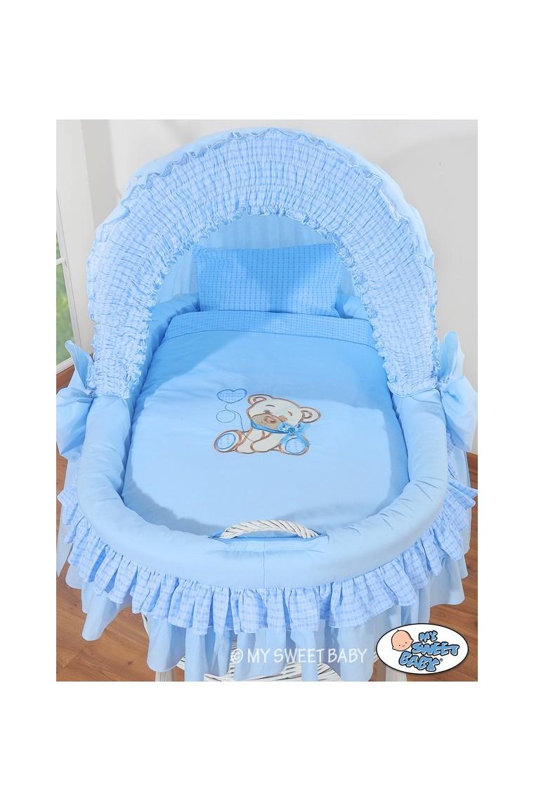 Cuna mois s de mimbre beb osito azul blanco - El osito azul ...