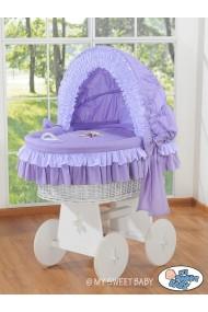 Cuna moisés de mimbre bebé Osito - Violeta-blanco