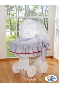 Cuna moisés de mimbre bebé Glamour - Gris-Blanco