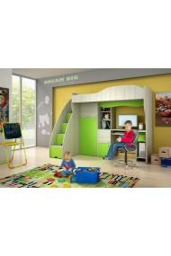 Cama alta con escritorio y armario Cuento Verde 190x80 cm