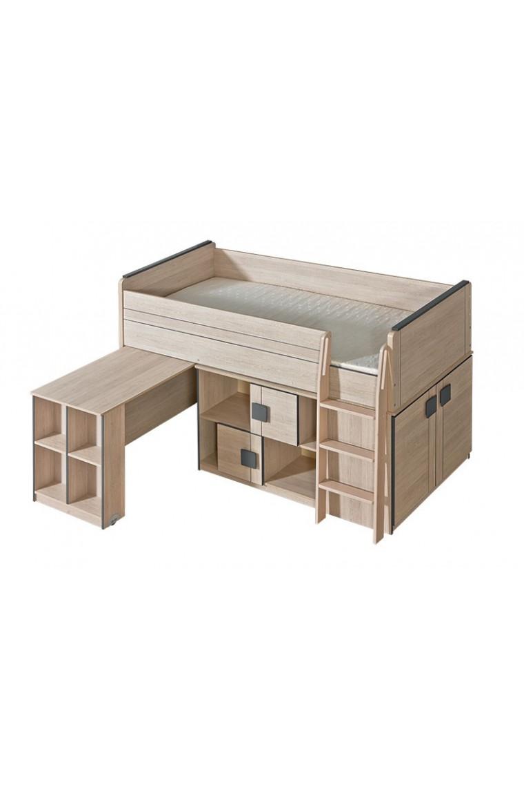 Cama alta con escritorio bfunky 200x90 cm for Cama escritorio