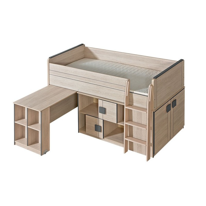 Cama alta con escritorio bfunky 200x90 cm for Cama 90 x 200