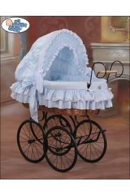 Cuna moisés bebé de mimbre Vintage Retro - Azul-Negro