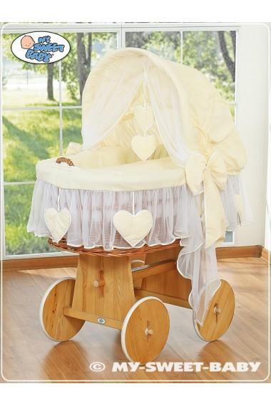 Cuna moisés bebé de mimbre Corazones - Crema