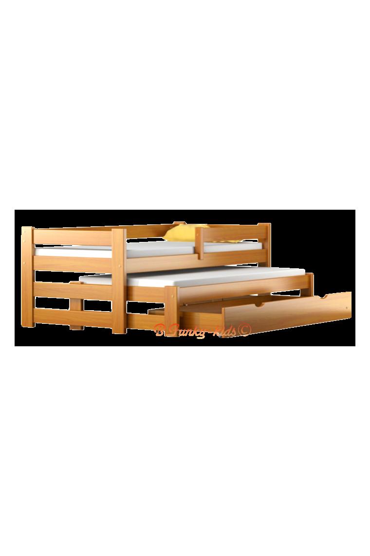 Cama nido de madera maciza con caj n y colchones pablo for Cama nido color madera