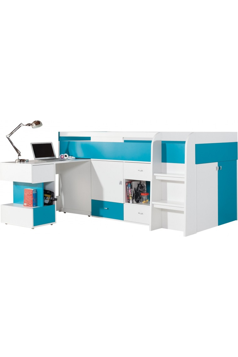 Cama alta con escritorio mobby 200x90 cm for Cama escritorio