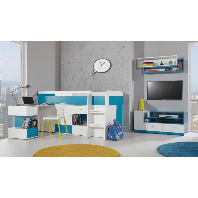 Cama alta con escritorio mobby 200x90 cm - Cama alta con escritorio ...