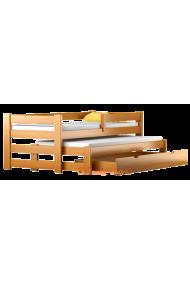 Cama nido de madera maciza con cajón y colchones Pablo 160x80 cm