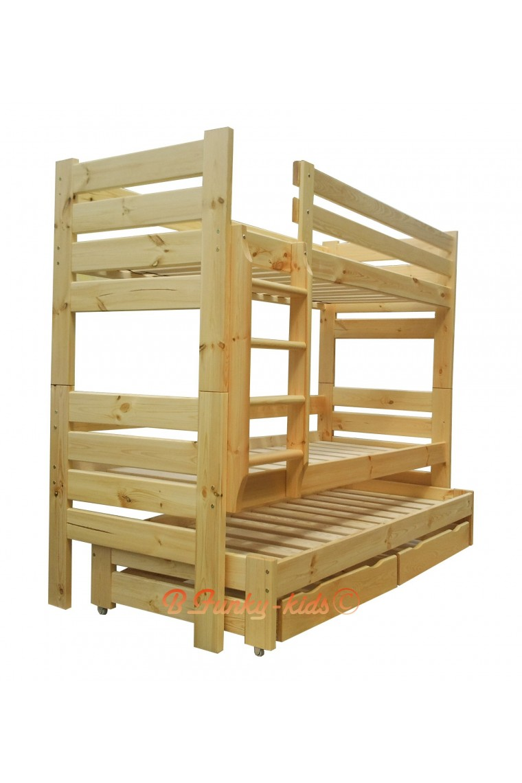 Cama litera con cama nido gustavo 3 con cajones y for Cama nido con colchones