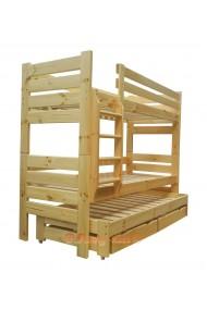 Cama litera con cama nido Gustavo 3 con cajones y colchones 200x90 cm