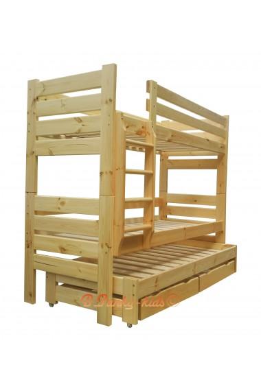 Cama litera con cama nido Gustavo 3 con cajones y colchones 160x80 cm