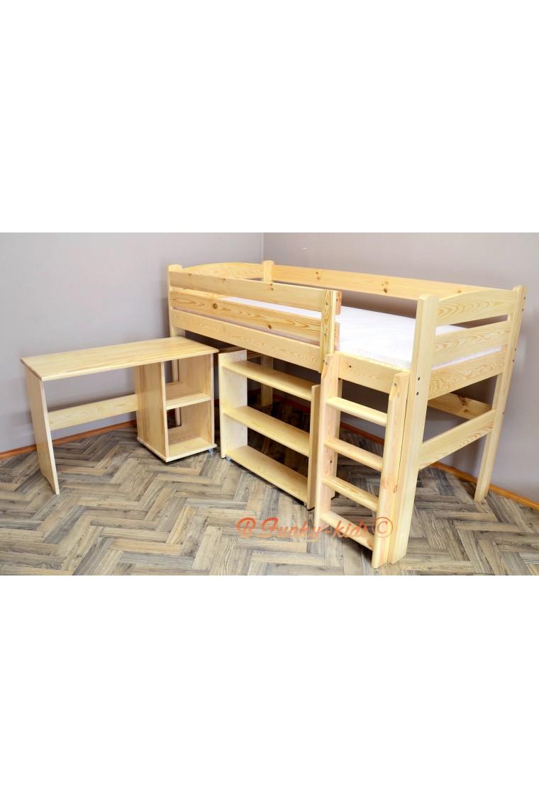 Cama semi alta con escritorio y estantes bella 200x90 cm - Cama alta con escritorio ...