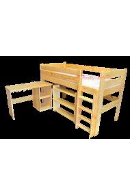 Cama semi alta con escritorio y estantes Bella 200x90 cm