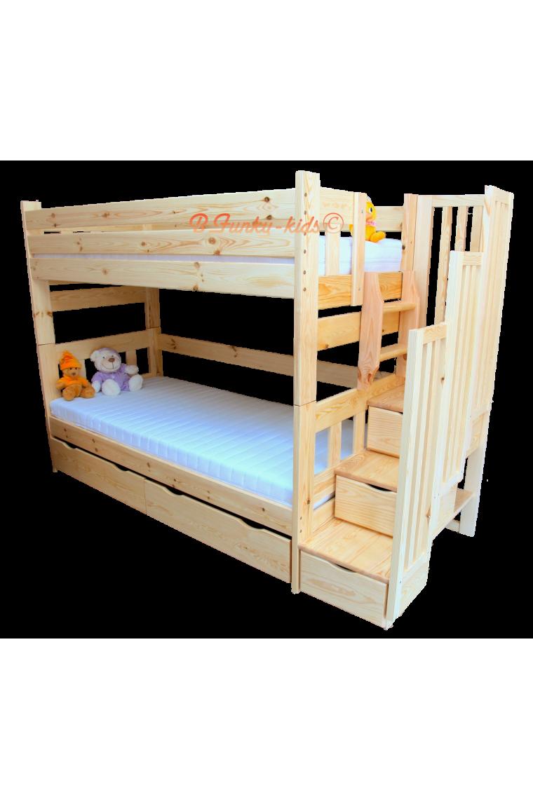 Cama litera con escalera con cajones enrique 200x90 cm - Escaleras para camas altas ...
