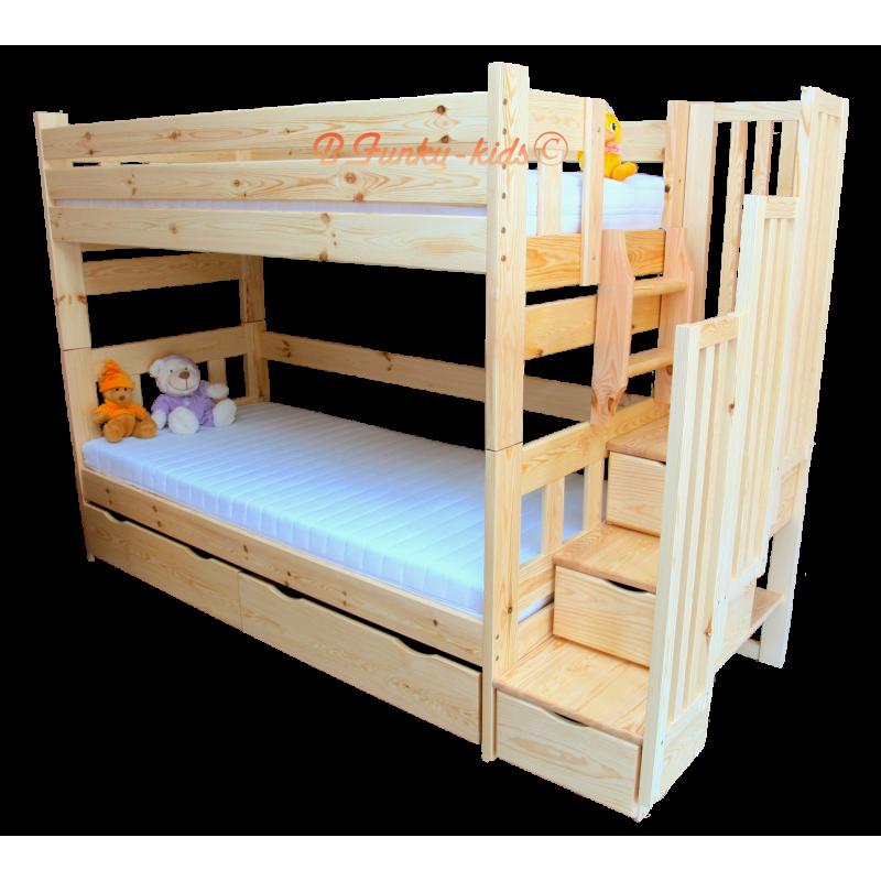 Cama litera con escalera con cajones enrique 200x90 cm for Escaleras de literas