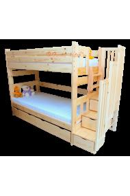 Cama litera con escalera con cajones y cama nido Enrique 200x90 cm