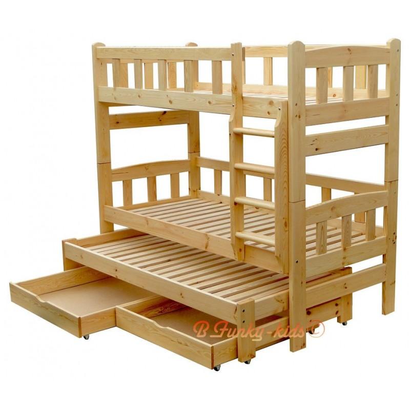 Cama litera con cama nido nicolas 3 con cajones 200x80 cm - Literas de 3 camas ...