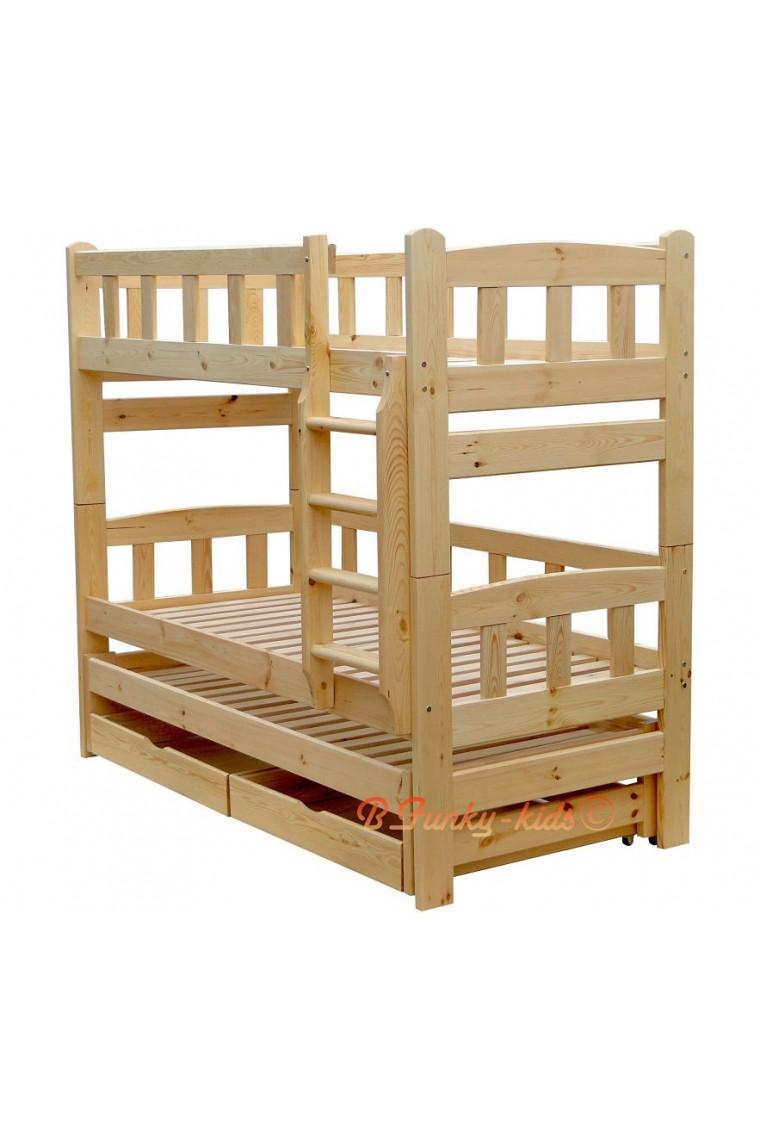 Cama litera con cama nido nicolas 3 con cajones 200x80 cm - Literas nido 3 camas ...