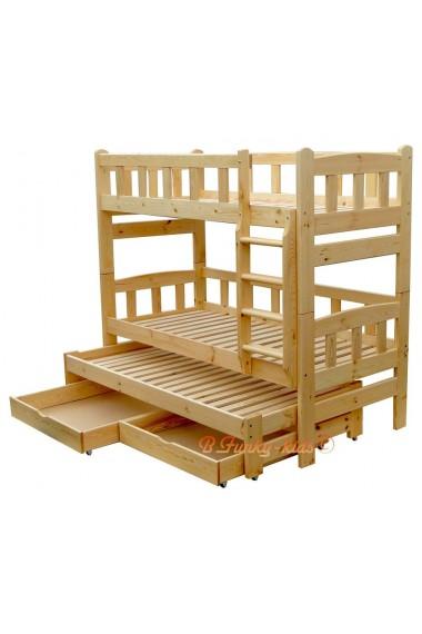 Cama litera con cama nido Nicolas 3 con cajones 200x90 cm