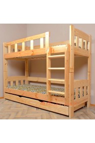 Cama litera de madera maciza Inez con cajón 180x80 cm