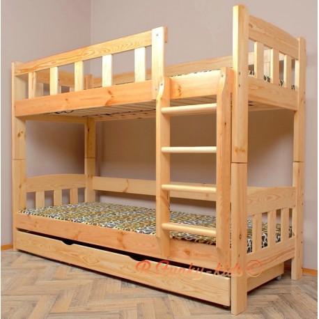 Cama litera de madera maciza Inez con cajón y colchones 160x80 cm