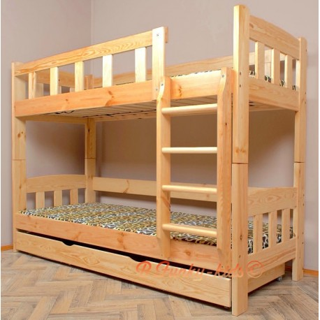Cama litera de madera maciza Inez con cajón y colchones 200x80 cm