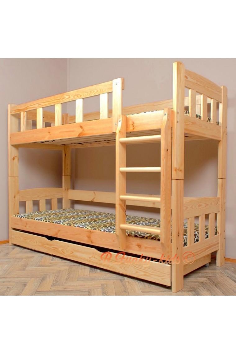 Cama litera de madera maciza inez con caj n y colchones for Como hacer una cama alta de madera