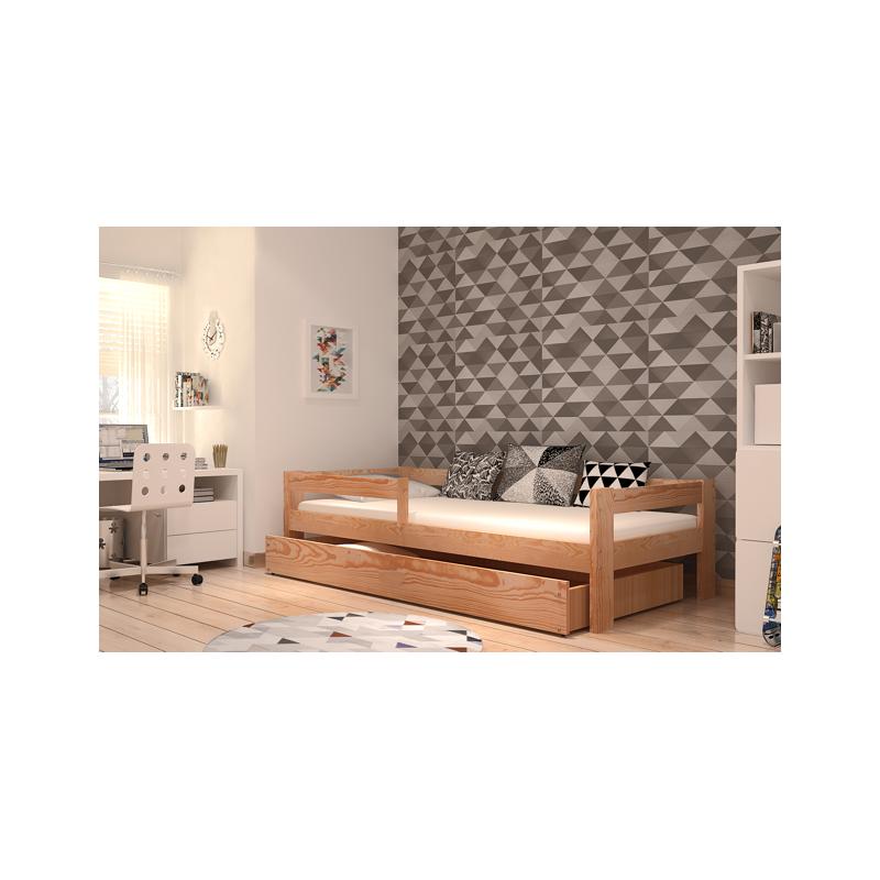 cama de madera de pino macizo dino con cajn x cm