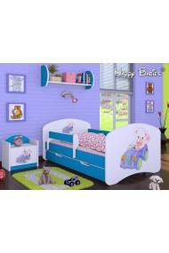 Cama infantil Happy Azul Colección con cajón y colchón 140x70 cm