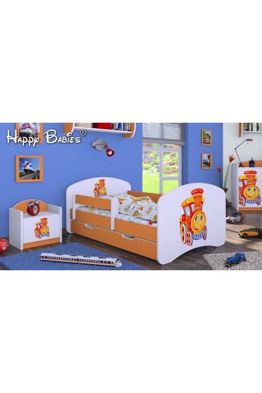Cama infantil Happy Naranja Colección con cajón y colchón 140x70 cm
