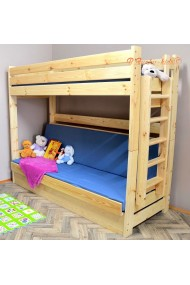 Cama litera de madera maciza Carlos con cajón y colchones 180x80 cm
