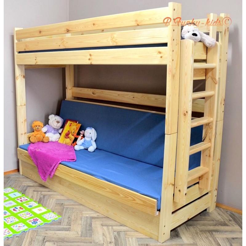 Cama litera de madera maciza carlos con colchones 180x80 y - Literas de madera maciza ...