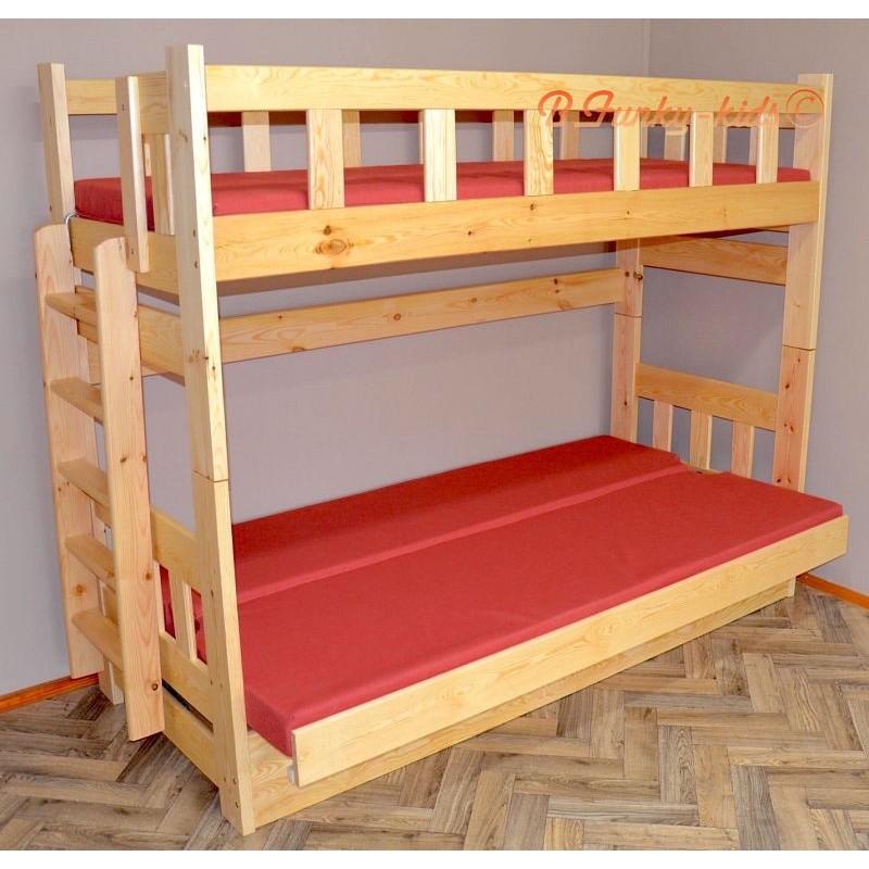 Cama litera de madera maciza fabio con colchones 200x90 y 200x120 cm - Literas madera maciza ...