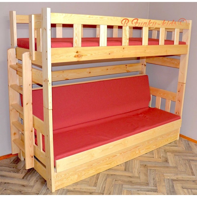 Cama litera de madera maciza fabio con colchones 200x90 y - Cama litera de madera ...