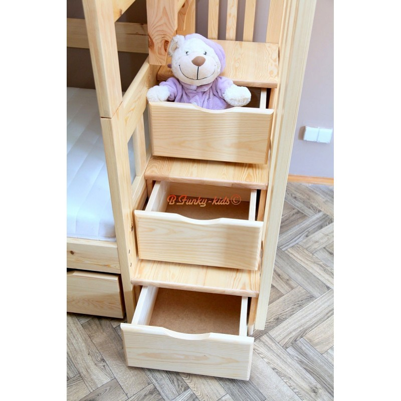 Cama litera con escalera con cajones y cama nido enrique for Escaleras de literas
