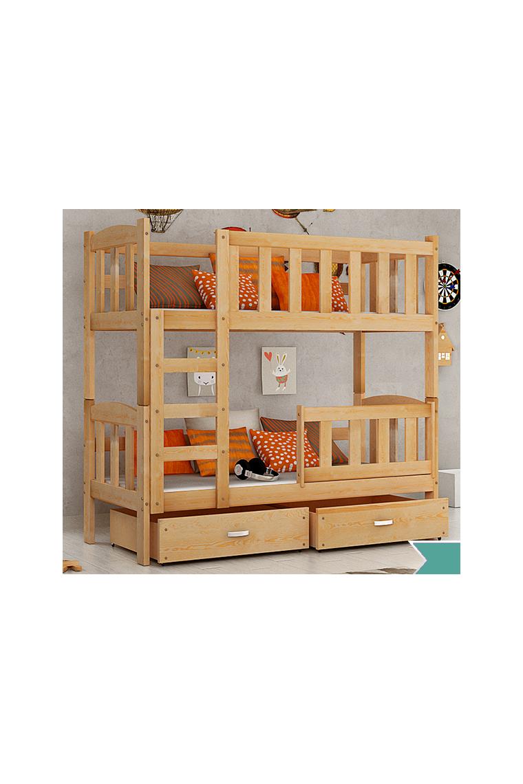 Cama litera de madera maciza bambi con cajones 160x70 cm - Literas de madera maciza ...