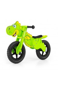Dino verde - bicicleta de madera sin pedales