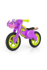 Dino violeta - bicicleta de madera sin pedales