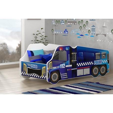 Cama camión de la Policía con colchón 140x70